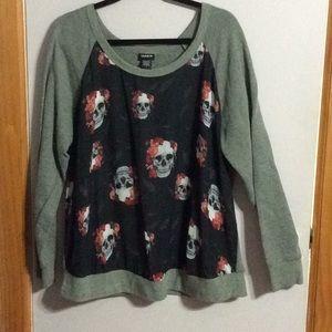 Torrid Raglan Skull Shirt